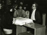 Christo with umbrellos for next project, The Running Fence Project Revisted, Reception,  GTU Library, April 15, 1988