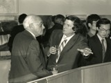 Adams and Peter Selz, The Running Fence Project Revisted, Reception, Atrium- GTU Library, April 15, 1988